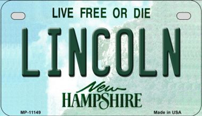 Lincoln New Hampshire Novelty Metal Motorcycle Plate MP-11149