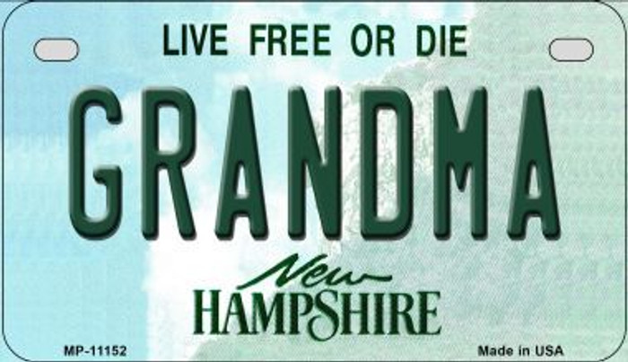 Grandma New Hampshire Novelty Metal Motorcycle Plate MP-11152