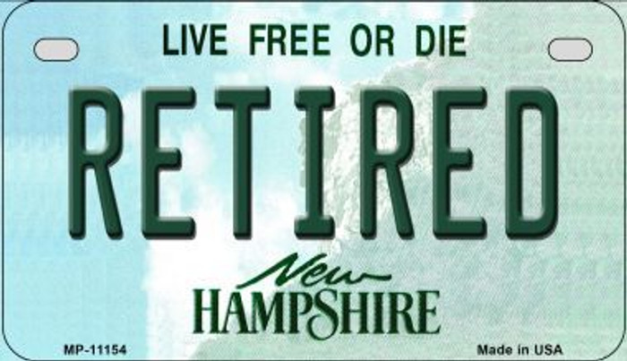 Retired New Hampshire Novelty Metal Motorcycle Plate MP-11154