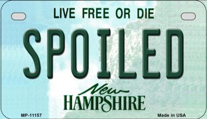 Spoiled New Hampshire Novelty Metal Motorcycle Plate MP-11157