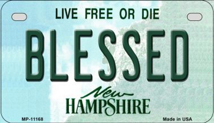 Blessed New Hampshire Novelty Metal Motorcycle Plate MP-11168