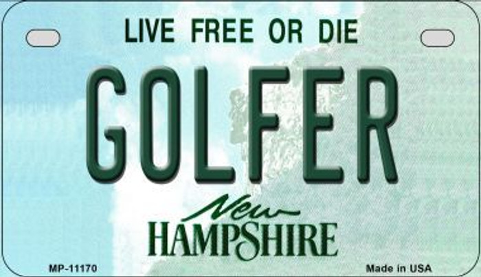 Golfer New Hampshire Novelty Metal Motorcycle Plate MP-11170