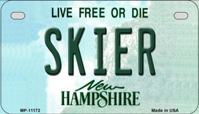 Skier New Hampshire Novelty Metal Motorcycle Plate MP-11172