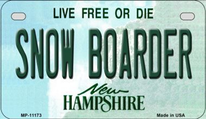 Snow Boarder New Hampshire Novelty Metal Motorcycle Plate MP-11173