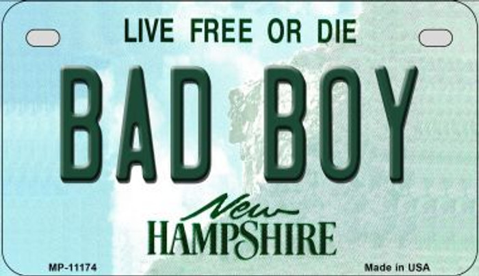 Bad Boy New Hampshire Novelty Metal Motorcycle Plate MP-11174