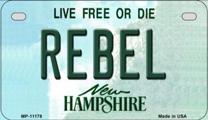 Rebel New Hampshire Novelty Metal Motorcycle Plate MP-11178