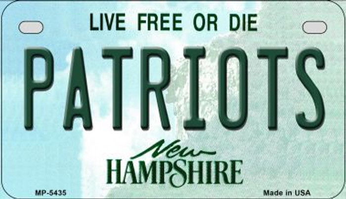 Patriots New Hampshire Novelty Metal Motorcycle Plate MP-5435