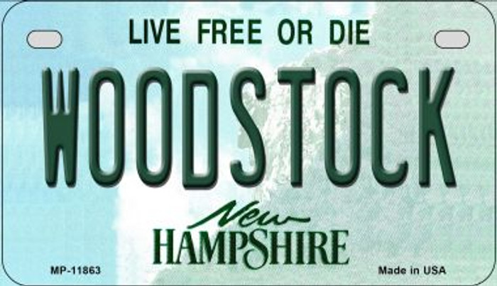 Woodstock New Hampshire Novelty Metal Motorcycle Plate MP-11863