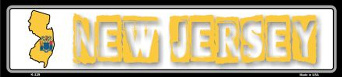 New Jersey State Outline Novelty Metal Vanity Small Street Sign