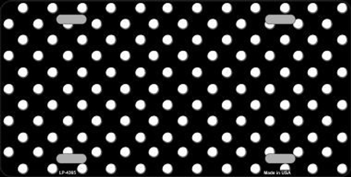 Black White Polka Dot Metal Novelty License Plate