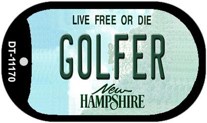 Golfer New Hampshire Novelty Metal Dog Tag Necklace DT-11170