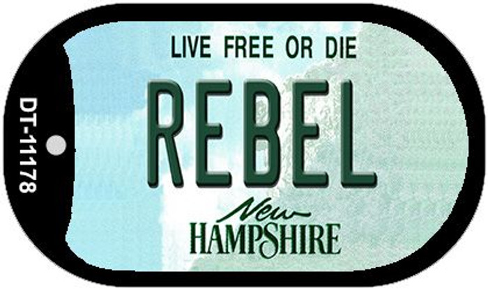 Rebel New Hampshire Novelty Metal Dog Tag Necklace DT-11178
