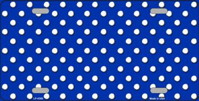 Blue White Polka Dot Metal Novelty License Plate