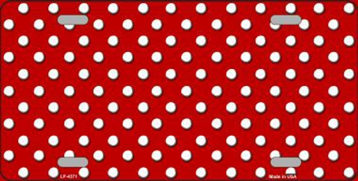 Red White Polka Dot Metal Novelty License Plate