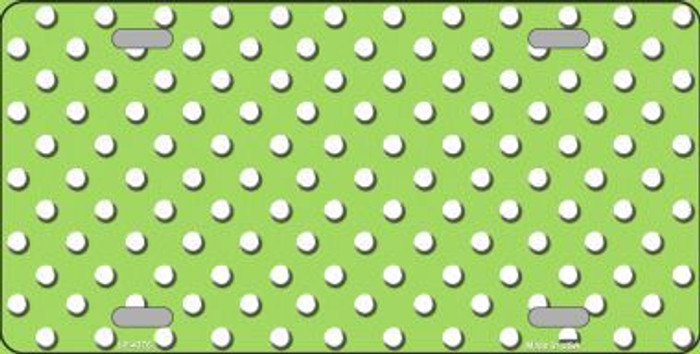 Lime Green White Polka Dot Metal Novelty License Plate