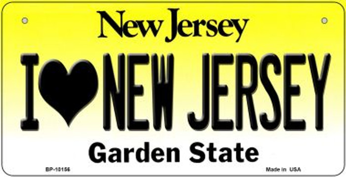 I Love New Jersey Novelty Metal Bicycle Plate BP-10156