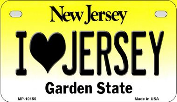 I Love Jersey Novelty Metal Motorcycle Plate MP-10155
