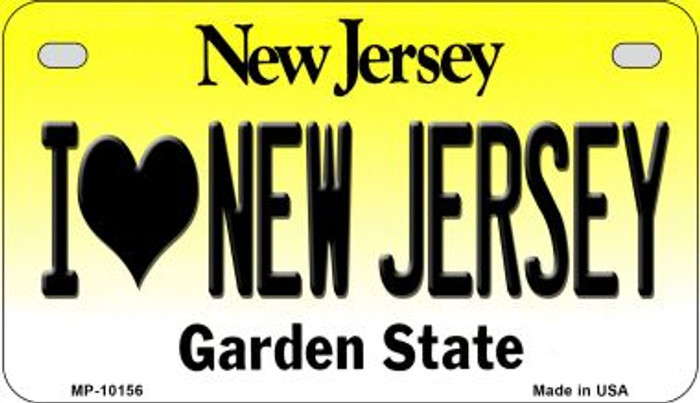 I Love New Jersey Novelty Metal Motorcycle Plate MP-10156