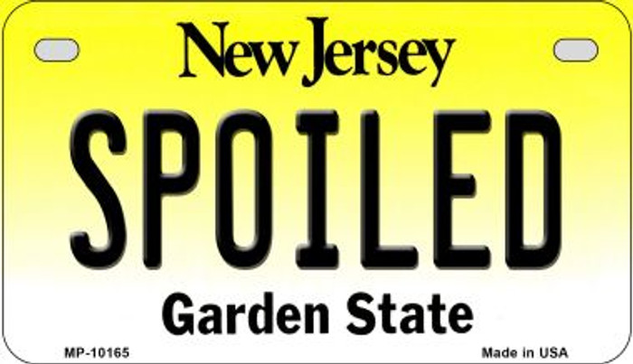 Spoiled New Jersey Novelty Metal Motorcycle Plate MP-10165