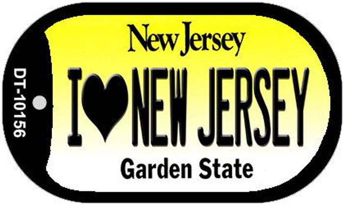 I Love New Jersey Novelty Metal Dog Tag Necklace DT-10156