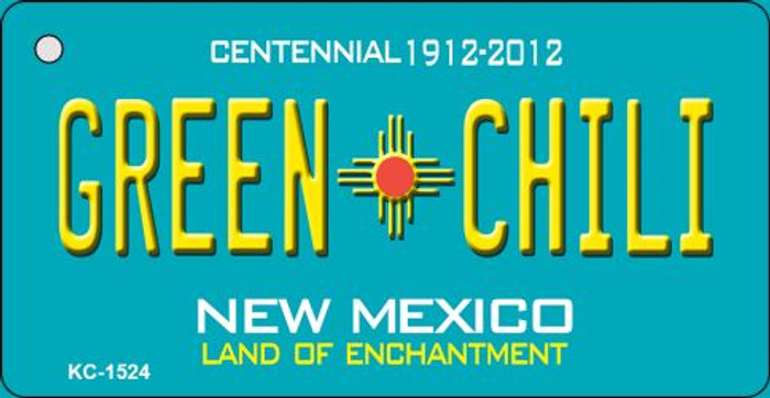 Green Chili Teal New Mexico Novelty Metal Key Chain KC-1524