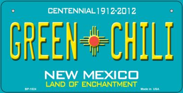 Green Chili Teal New Mexico Novelty Metal Bicycle Plate BP-1524