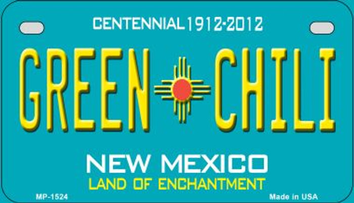Green Chili Teal New Mexico Novelty Metal Motorcycle Plate MP-1524