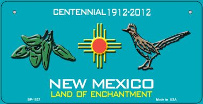 Green Chili and Road Runner Teal New Mexico Novelty Metal Bicycle Plate BP-1527