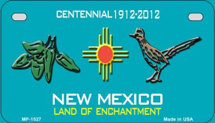 Green Chili and Road Runner Teal New Mexico Novelty Metal Motorcycle Plate MP-1527