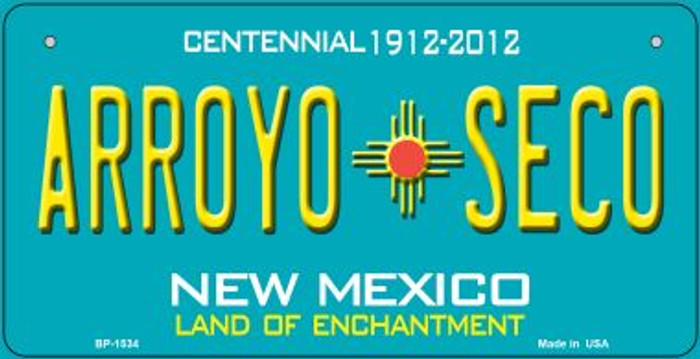 Arroyo Seco Teal New Mexico Novelty Metal Bicycle Plate BP-1534