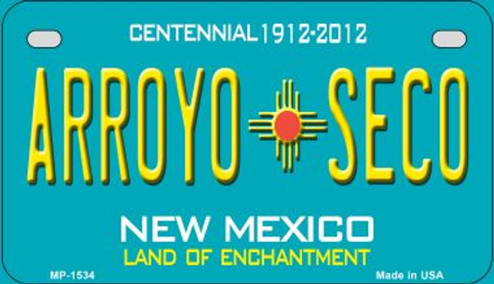 Arroyo Seco Teal New Mexico Novelty Metal Motorcycle Plate MP-1534