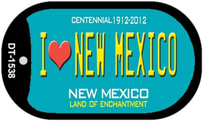 I Love New Mexico Teal New Mexico Novelty Metal Dog Tag Necklace DT-1538