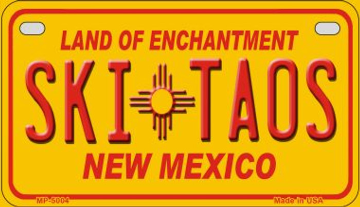 Ski Taos Yellow New Mexico Novelty Metal Motorcycle Plate MP-5004
