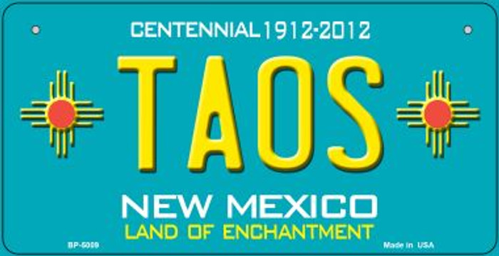 Taos Teal New Mexico Novelty Metal Bicycle Plate BP-5009