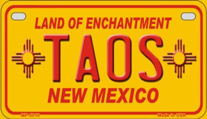 Taos Yellow New Mexico Novelty Metal Motorcycle Plate MP-5010