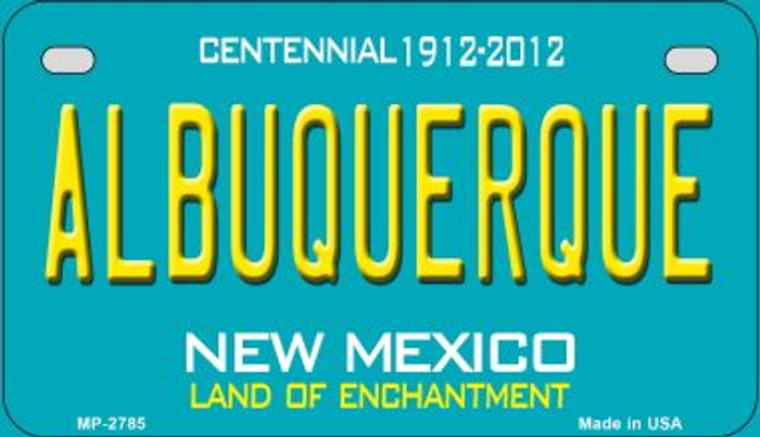 Albuquerque Teal New Mexico Novelty Metal Motorcycle Plate MP-2785
