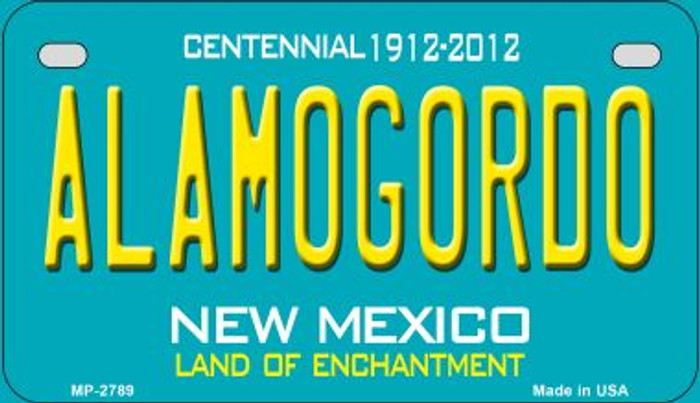 Alamogordo Teal New Mexico Novelty Metal Motorcycle Plate MP-2789