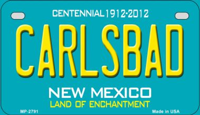 Carlsbad Teal New Mexico Novelty Metal Motorcycle Plate MP-2791