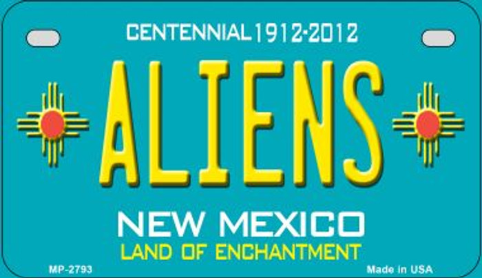 Aliens Teal New Mexico Novelty Metal Motorcycle Plate MP-2793