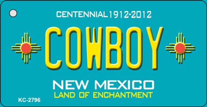 Cowboy Teal New Mexico Novelty Metal Key Chain KC-2796