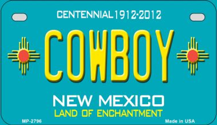 Cowboy Teal New Mexico Novelty Metal Motorcycle Plate MP-2796