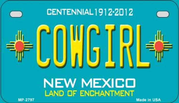 Cowgirl Teal New Mexico Novelty Metal Motorcycle Plate MP-2797