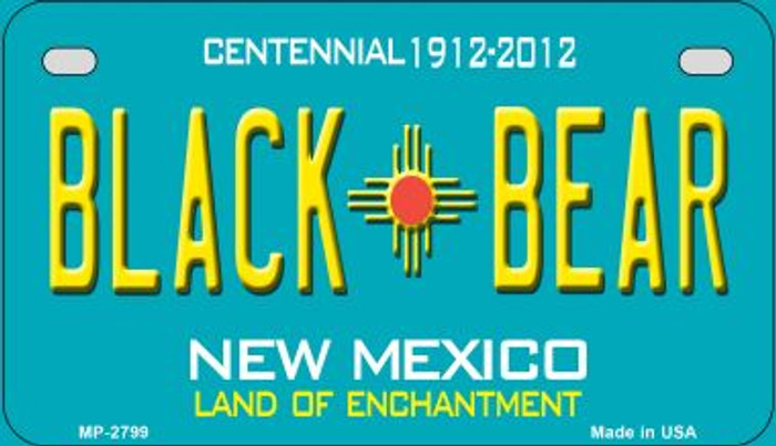 Black Bear Teal New Mexico Novelty Metal Motorcycle Plate MP-2799