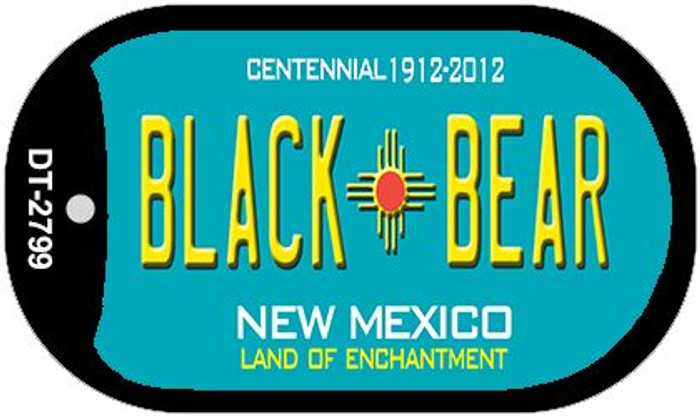Black Bear Teal New Mexico Novelty Metal Dog Tag Necklace DT-2799