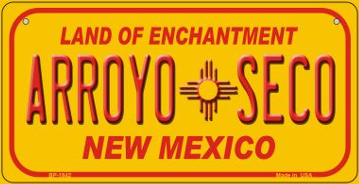Arroyo Seco Yellow New Mexico Novelty Metal Bicycle Plate BP-1942