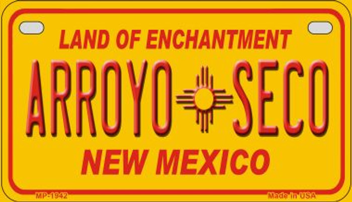 Arroyo Seco Yellow New Mexico Novelty Metal Motorcycle Plate MP-1942