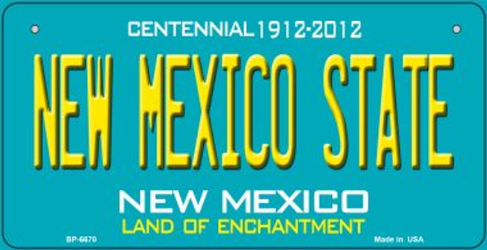 New Mexico State Teal New Mexico Novelty Metal Bicycle Plate BP-6670