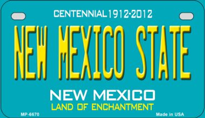 New Mexico State Teal New Mexico Novelty Metal Motorcycle Plate MP-6670