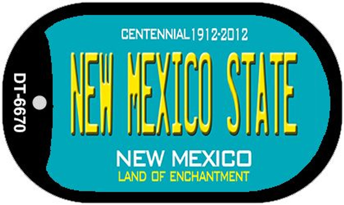 New Mexico State Teal New Mexico Novelty Metal Dog Tag Necklace DT-6670