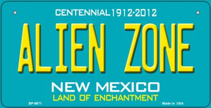 Alien Zone Teal New Mexico Novelty Metal Bicycle Plate BP-6671